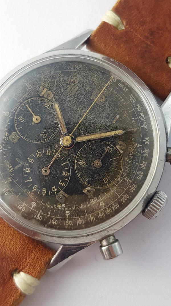 Gallet Hour Recorder Chronograph Jim Clark Black Dial GILT