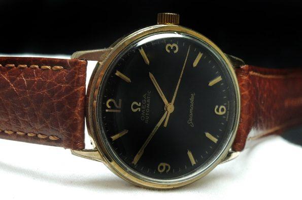 Gold Plated Vintage Omega Seamaster Automatic Black Explorer Dial