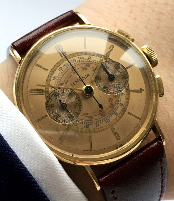 Vintage Lemania Chronograph Multicolor Solid Gold