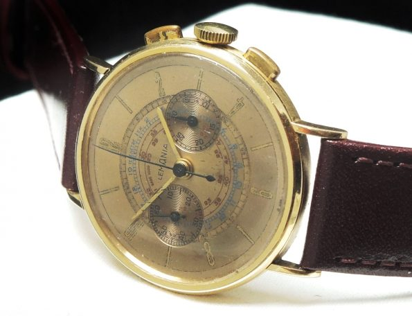 Vintage Lemania Chronograph Multicolor Solid Gold