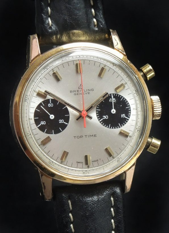 STUNNING Breitling Top Time 36mm Panda Dial Gold Plated Chronograph