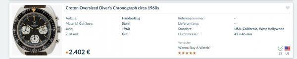 Croton Three Register Valjoux7736 Chronograph 42mm