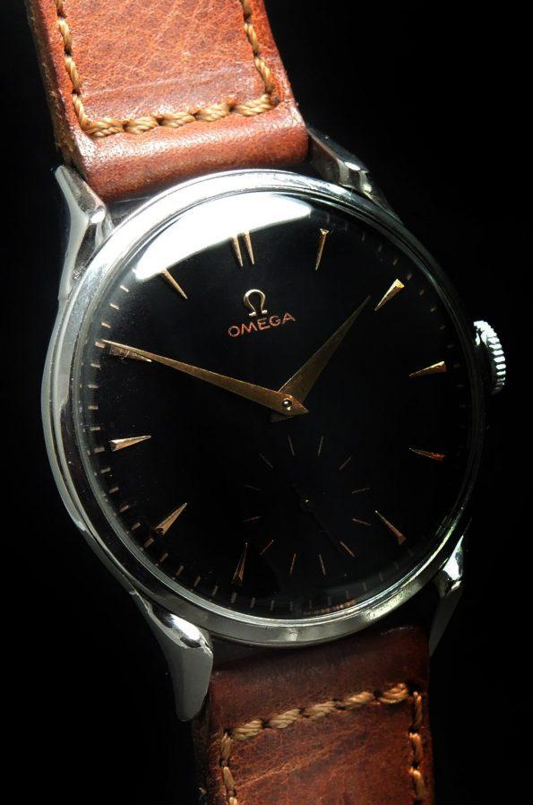 Fully Restored Omega 38mm Oversize Jumbo Vintage Black Dial