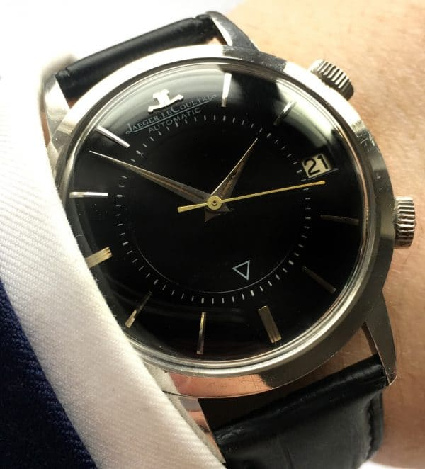 Unpolished 37mm Vintage Memovox Automatic Steel Black Dial