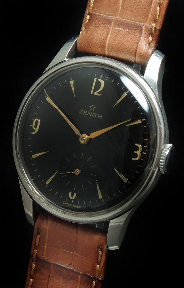 Restored Vintage Zenith Handwinding black dial Oversize