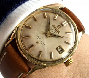 [:en]Serviced Omega Constellation Solid Gold Cream Automatic[:de]Servicierte Omega Constellation Vollgold Cream Dial Automatik[:]