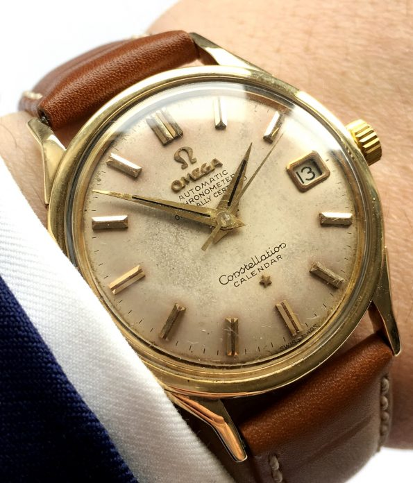 Serviced Omega Constellation Solid Gold Cream Automatic