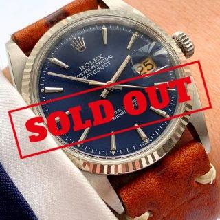 Restaurierte Rolex Datejust 36mm Stahl blaues Ziffernblatt