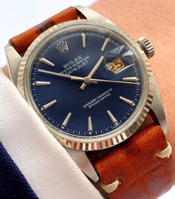 Restored Rolex Datejust 36mm Steel blue dial Vintage