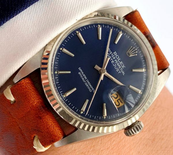 Restored Rolex Datejust 36mm Steel blue dial Vintage