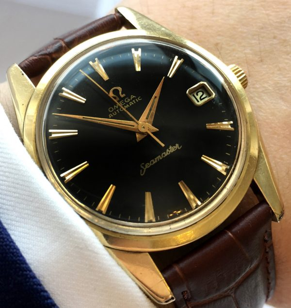 Gold Plated Omega Seamaster Automatic Black Dial