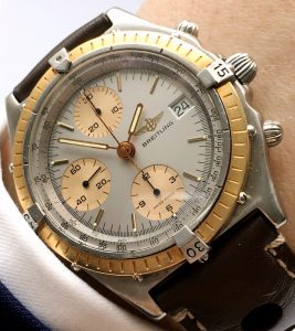 Great Breitling Chronomat Vintage Automatic Gold Bezel