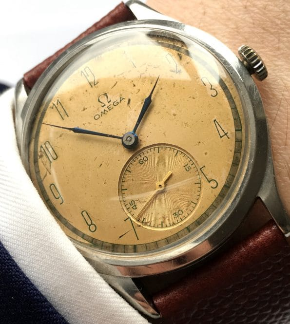 Tolle Omega Vintage Oversize Jumbo 37mm weisses 30t2