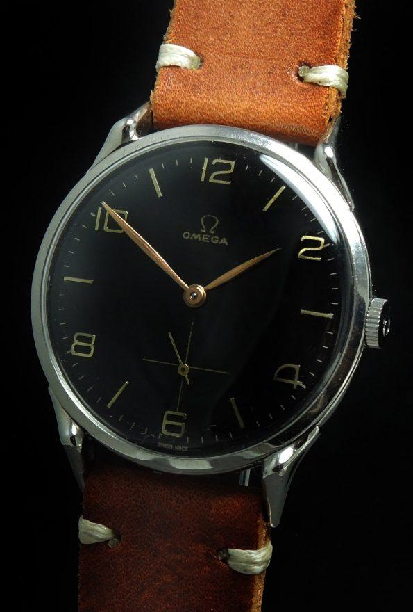 Beautiful Omega 38mm Oversize Jumbo Vintage Black Dial