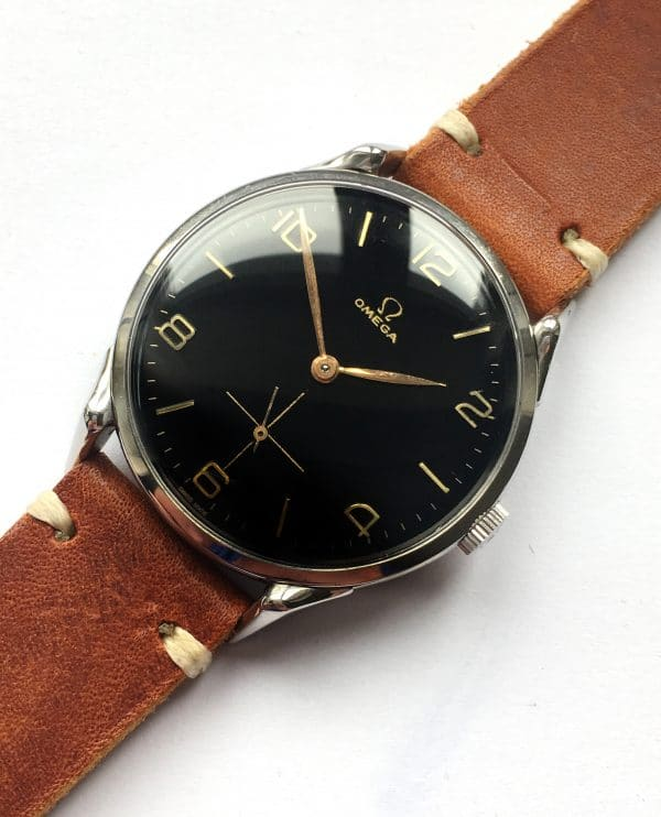 Beautiful Omega 38mm Oversize Jumbo Vintage Black Dial