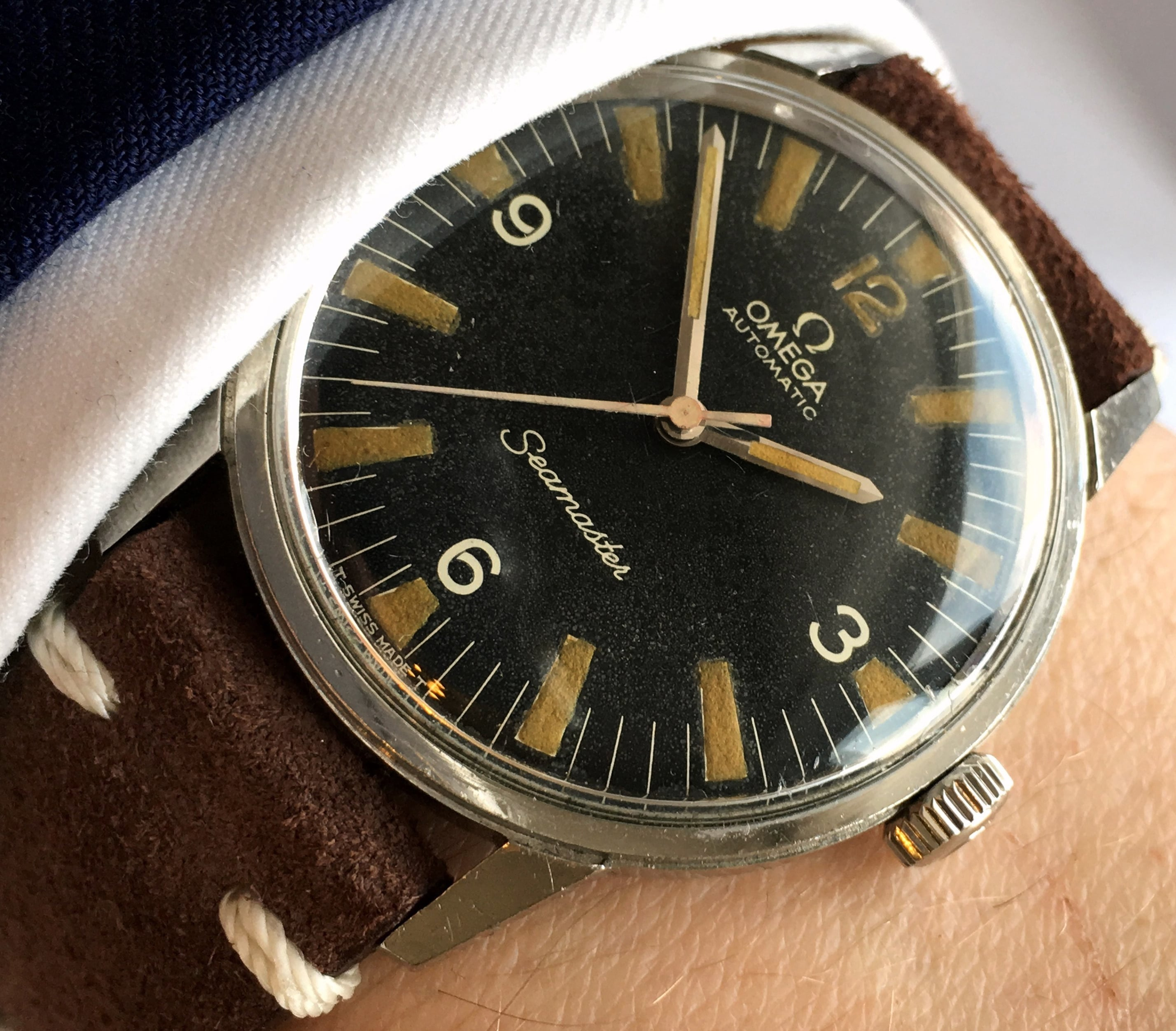 Military Style Omega Seamaster with Black Explorer Dial