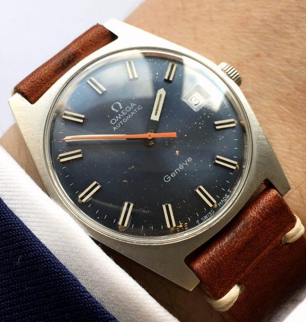Unpolished Vintage Omega Genève with Starlight Blue Dial