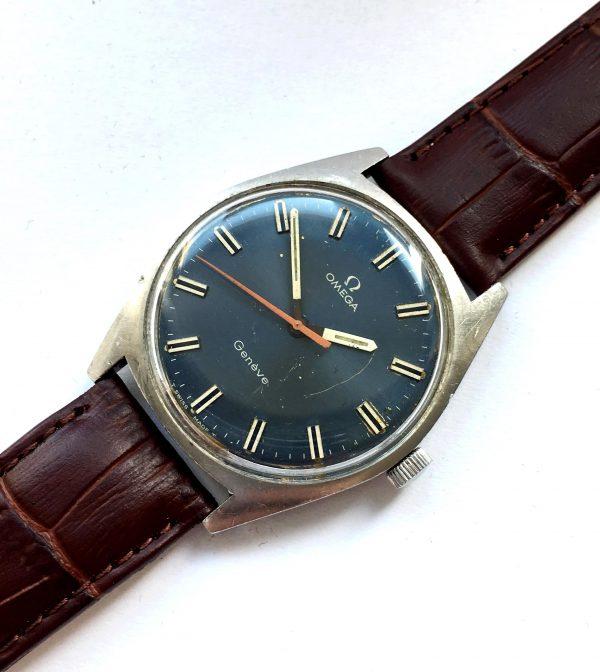 Rare Omega Geneve blue dial and Orange hand