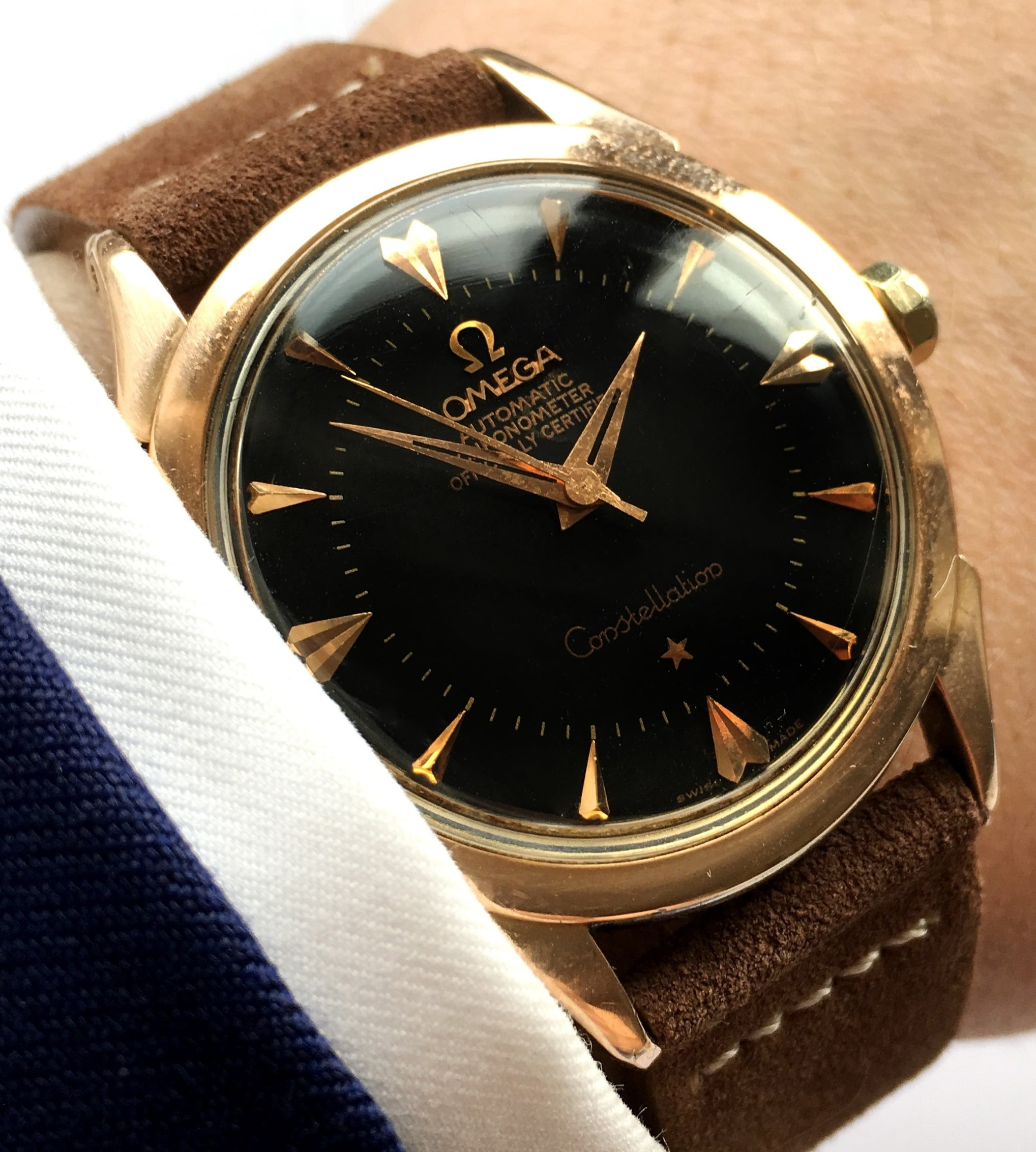 Immaculate red gold plated Omega Constellation