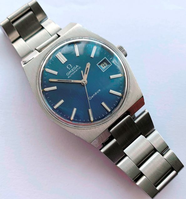 Omega Geneve Automatic Blue Linen Dial