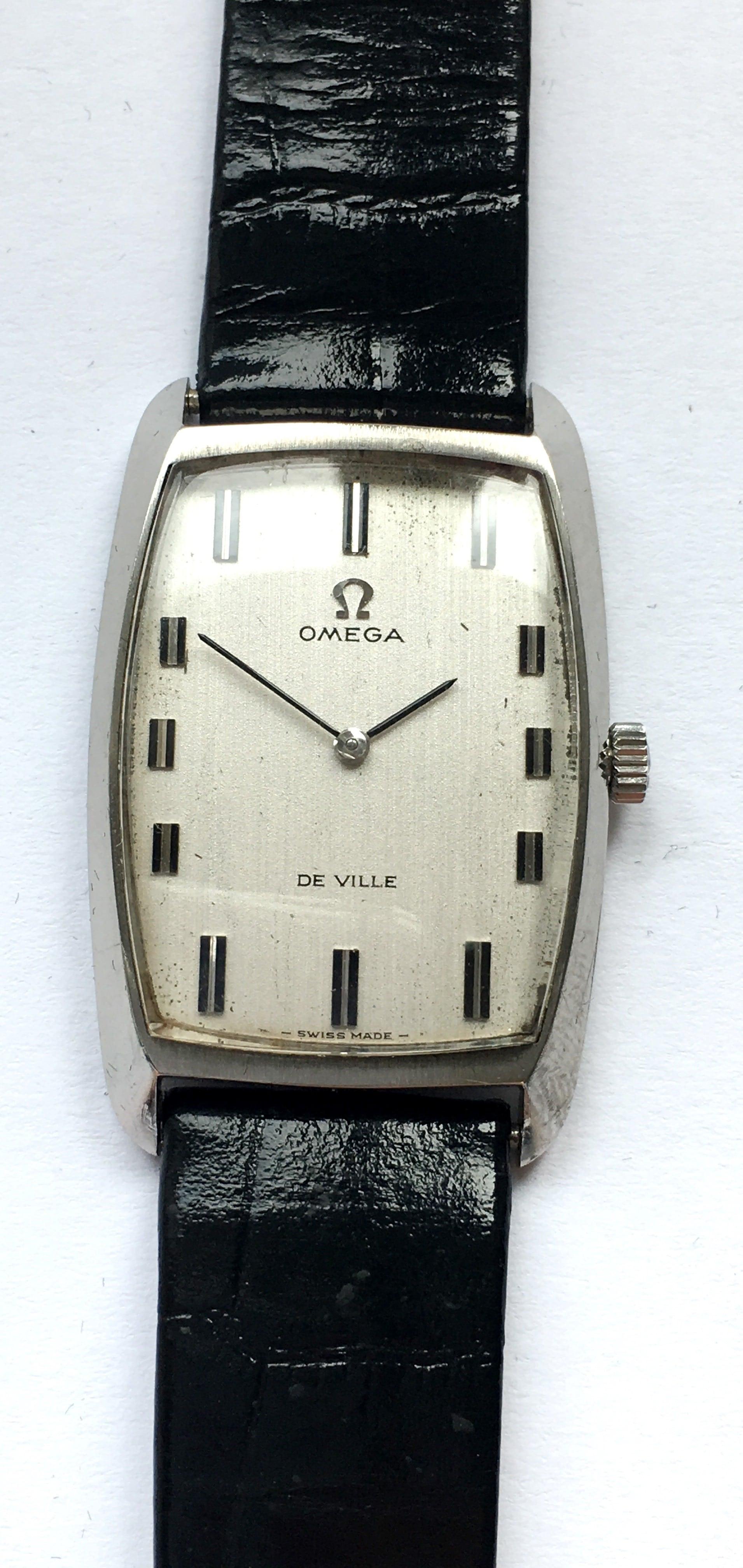 Great Omega De Ville Tank Ladies Watch Linen Dial