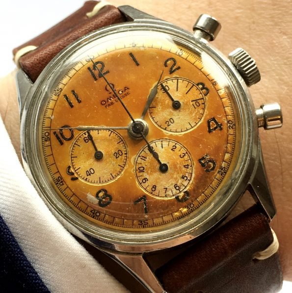 Tropical Omega Chronograph cal 321 Vintage Steel Round Pushers