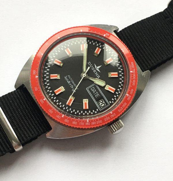 Serviced Dugena Diver Vintage with red bezel