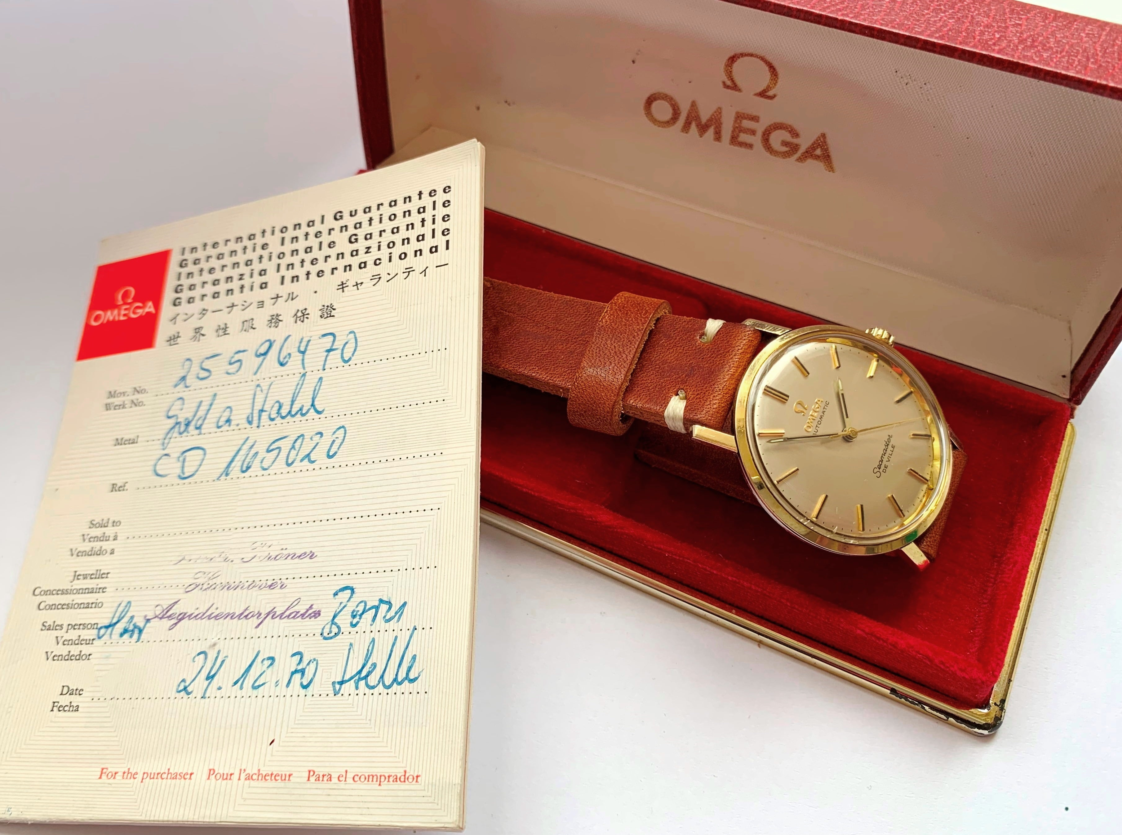 Vergoldete Omega Seamaster Automatik De Ville Box Papiere