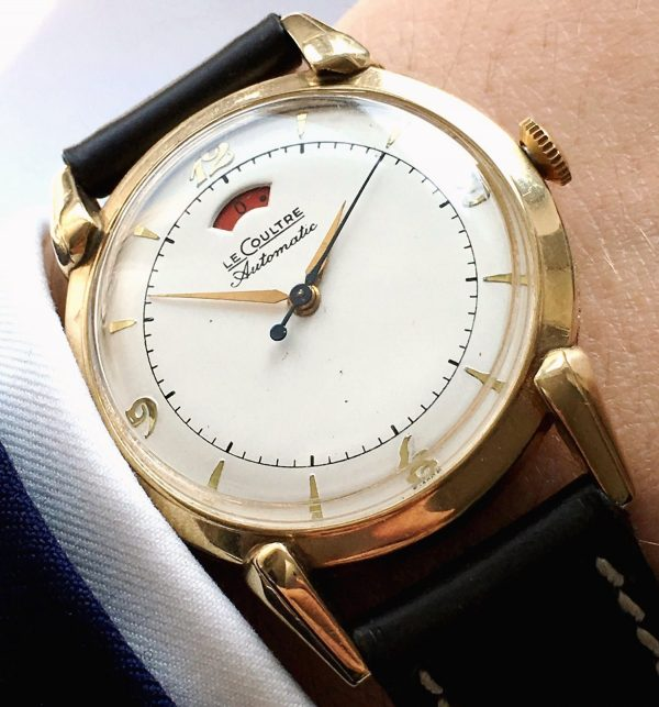 1950s Gold Plated Jaeger LeCoultre Bumper Automatic Power Reserve