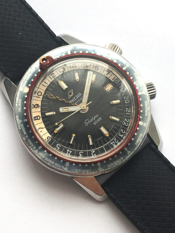 NEVER POLISHED Enicar Sherpa Diver Guide GMT Automatik