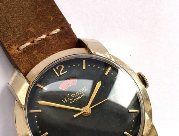 1950s Gold Plated Jaeger LeCoultre Power Reserve Bumper Automatic