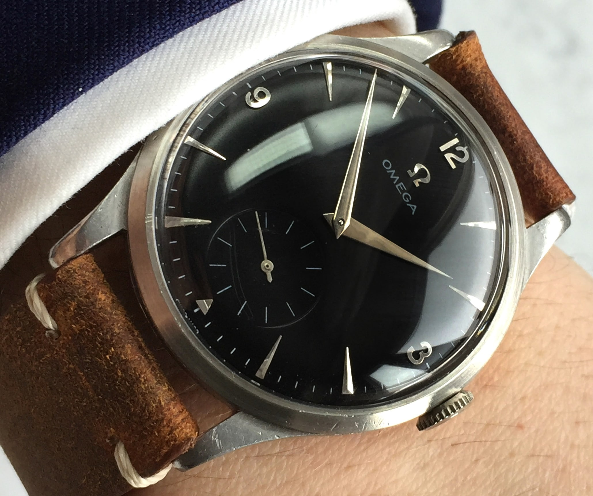 Attractive Omega Jumbo Steel Caliber 265 Black Dial