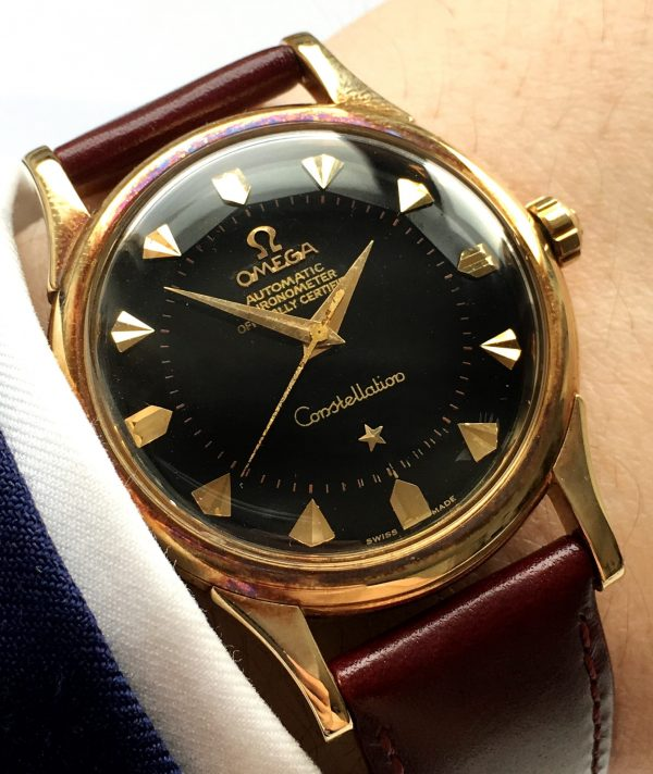 Unpolished 14k Yellow Gold Omega Constellation Automatic black dial