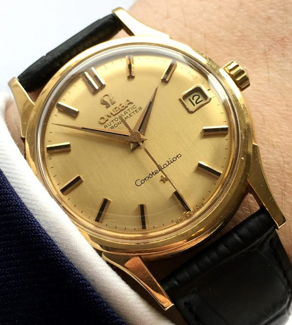 Unrestored 18k Yellow Gold Omega Constellation DeLuxe Linen