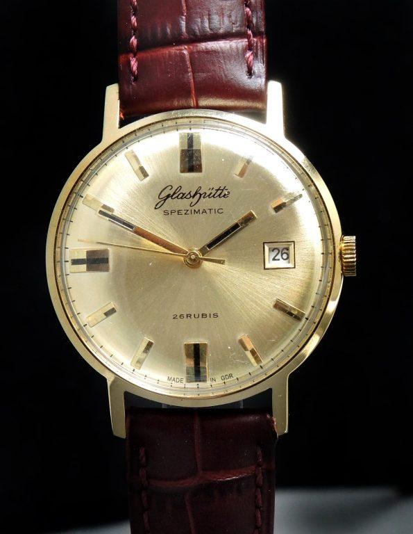 Vintage Glashütte Spezimatik Automatic golden dial Date