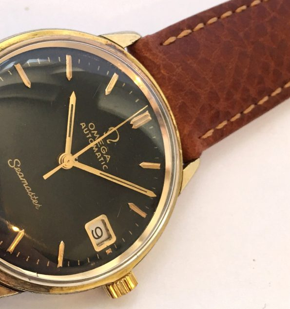 Gold Plated Vintage Omega Seamaster Automatic Black Dial