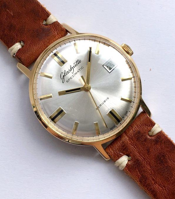 Vintage Glashütte Spezimatik Automatic silver dial Date