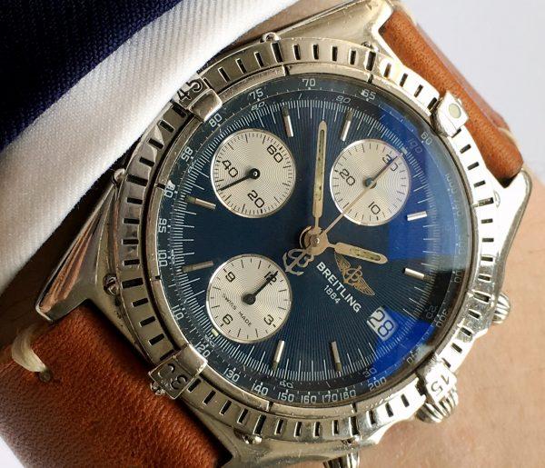 Serviced Breitling Chronomat Vintage Automatic Blue Dial
