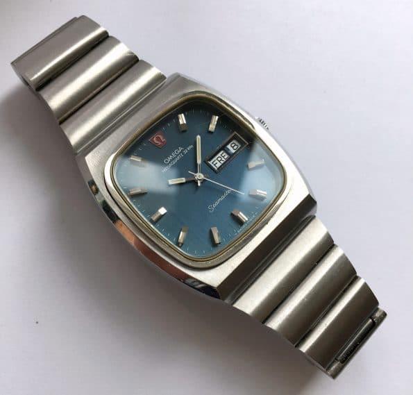 Vintage Omega Seamaster Megaquartz Day Date Blue Linen Dial