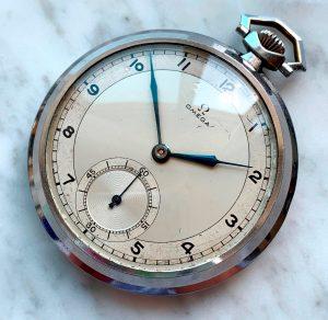 [:en]Vintage Omega Art Deco Pocket Watch Two Tone Dial[:de]Vintage Omega Art Deco Taschenuhr Two Tone Dial[:]