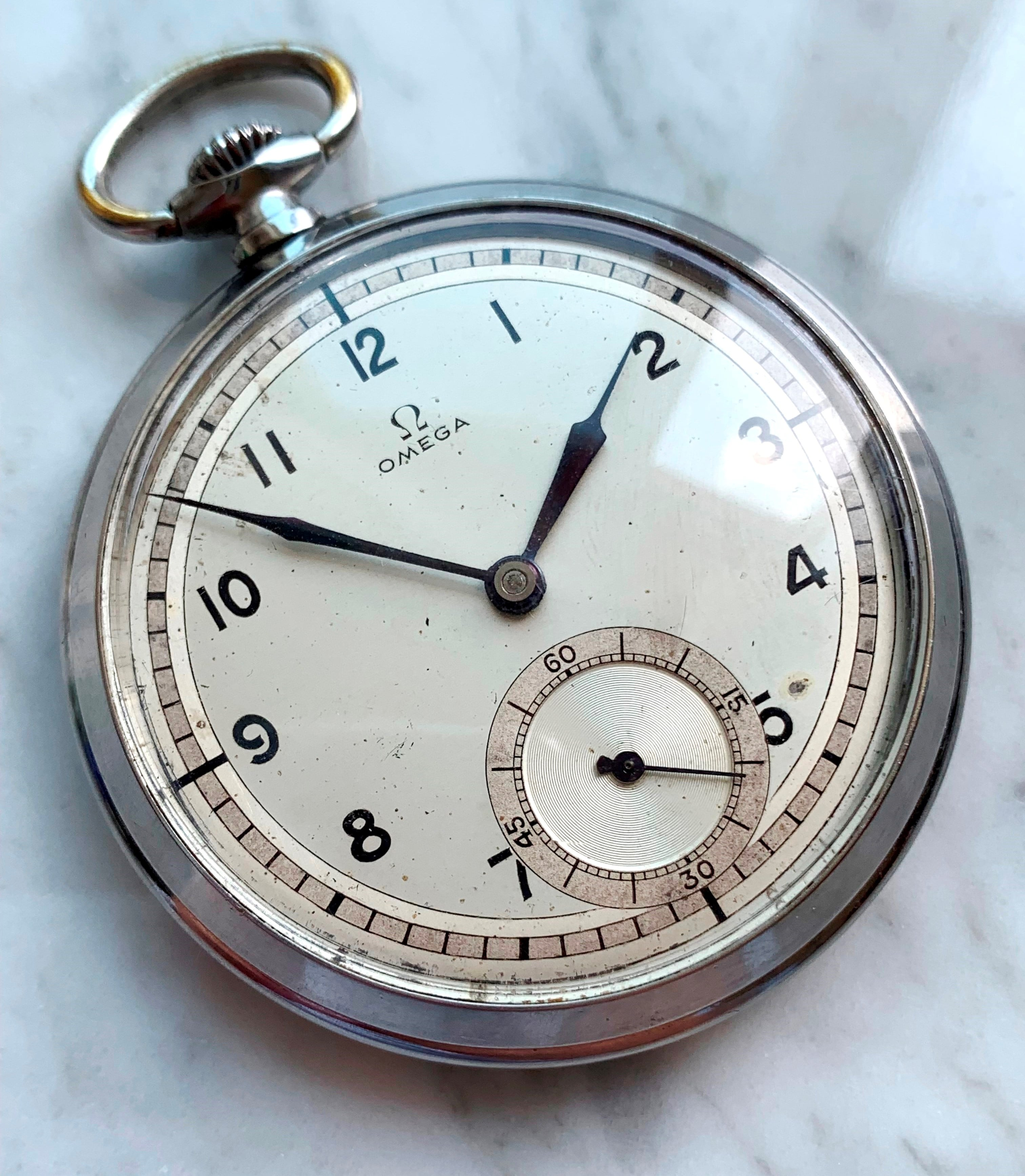Vintage Omega Art Deco Pocket Watch Two Tone Dial