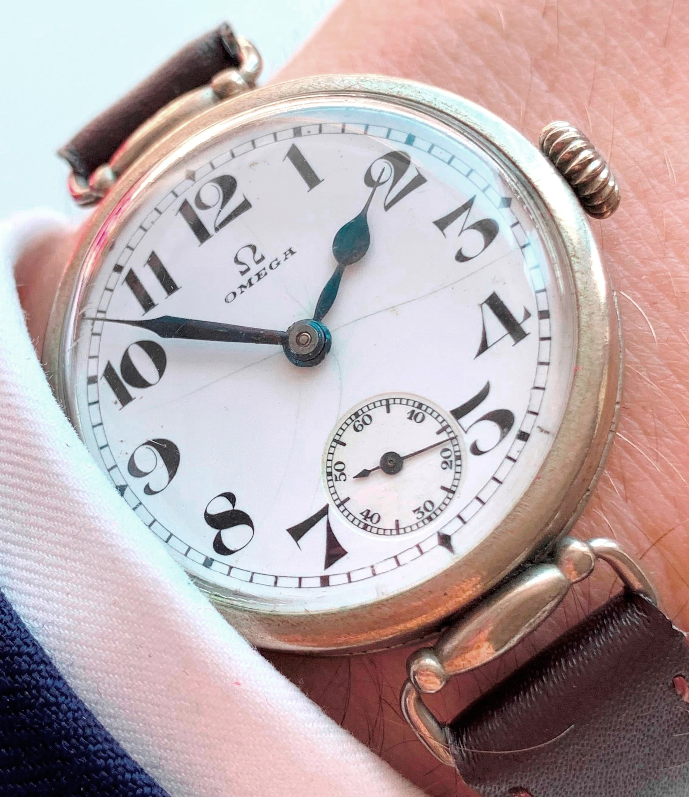 Vintage Omega Trench Watch with nearly perfect Enamel Dial