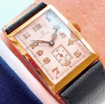 Wonderful Omega Tank Art Deco Solid Gold