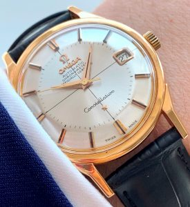 [:en]Refurbished Solid Gold Omega Constellation Pie Pan Dial with Onyx Indices[:de]Restaurierte Vollgold Omega Constellation Pie Pan Dial mit Onyx Indizen[:]