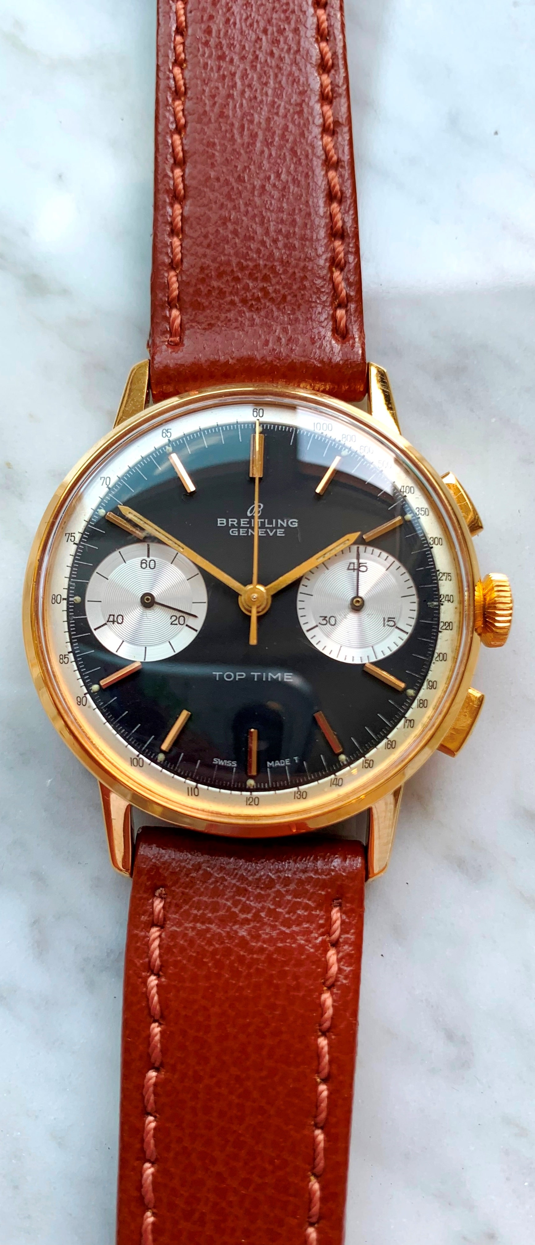 Gold plated Breitling Top Time Vintage Reverse Panda