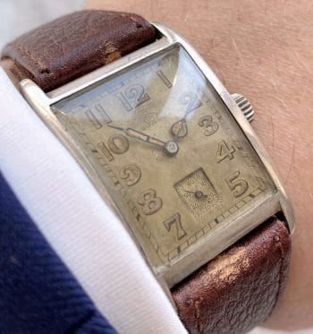 Vintage SOLID SILVER IWC Tank Art Deco Watch 1930