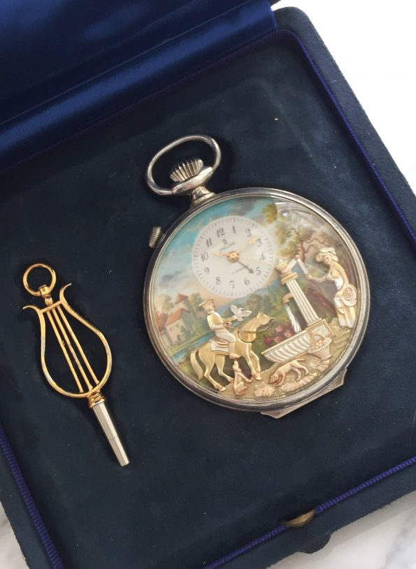 Reuge Musical Pocket Watch with Alarm in 925 Silver