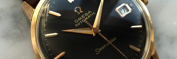 Vintage Omega Seamaster schwarzes Ziffernblatt rosevergoldet