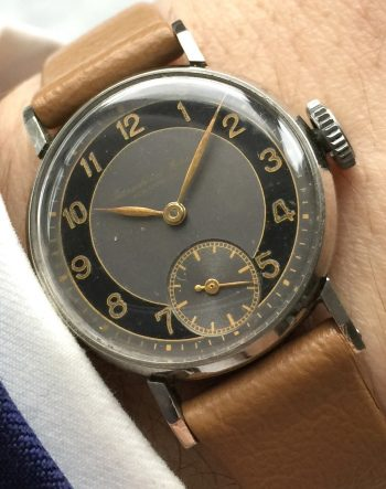 Extremely Rare Art Deco IWC Ladies Watch Two Tone Dial Gilt