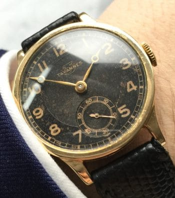 Serviced Tavannes Solid Gold GILT Dial Black Calatrava